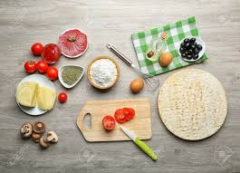 Wooden Table Top View Ingredients For Cooking Pizza On Wooden Table Top View Stock