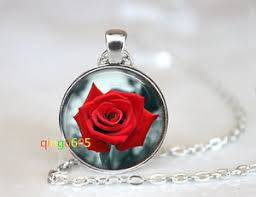glass necklace pendants wholesale images Red rose flower glass dome tibet silver chain pendant necklace jpg