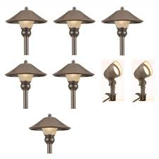 hampton bay low voltage bronze outdoor integrated led light kit 8 pack