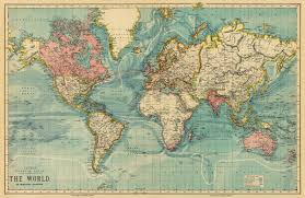Canvas Map Of The World by Vintage Map Of The World 30 X 46 5 Print On