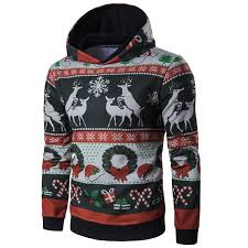 wholesale hooded christmas reindeer and snowflake print hoodie in