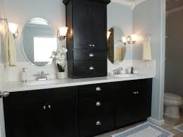 black white bathroom decoration using white glass tulip bathroom