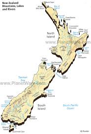 zealand on map map of zealand mountains lakes rivers planetware