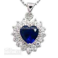 blue sapphire stone necklace images Wedding jewelry heart cut blue sapphire white gold plated pendant jpg