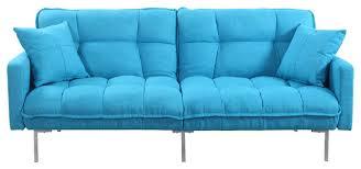 modern plush tufted linen fabric splitback sleeper futon
