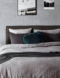 100 linen vintage treated raven chambray weave loft abode