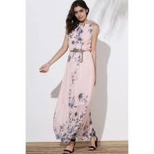 pink m floral long flowy semi maxi formal wedding dress rosegal com