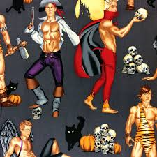 md309 halloween pin up men hunks devil pirate cave man cotton