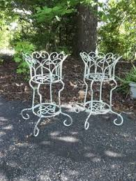 antique white wrought iron plant stand 43 36