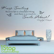citation chambre marilyn keep smiling wall sticker quote bedroom wall