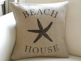 burlap hessian beach house starfish sea star pillow cover