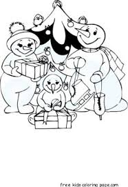 coloring page snowman family christmas carol clock snowman family coloring pagesfree printable