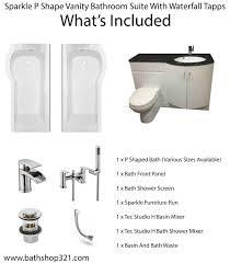 sparkle p shape vanity bathroom suite u0026 waterfall taps