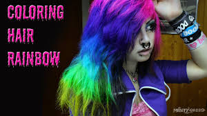 rainbow hair coloring pink purple blue turquoise green