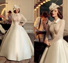 retro wedding dresses retro 2016 wedding dresses with collar buttons gown lace
