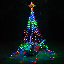 diy lighted outdoor christmas decorations diy christmas ideas make a tree of lights using a basketball pole
