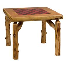 square cedar log game table w checkerboard cottage furniture