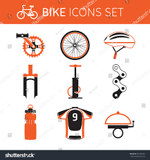 bike gear biking gear accessories icon set stock vector 562760776 shutterstock