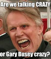Gary Busey Meme - are we talking crazy or gary busey crazy gary busey quickmeme