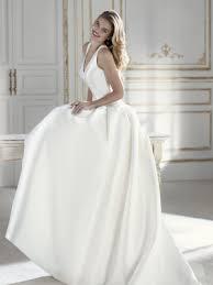 prado ballgown wedding dress with straps and v neckline