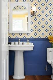blue and yellow bathroom ideas wallpaper for the powder room the inspired room only blue and