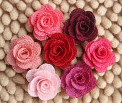 burlap flowers mini burlap flowers fabric flower rosettes diy hair accessories