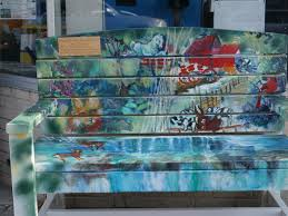 painted benches and planters in purcellville