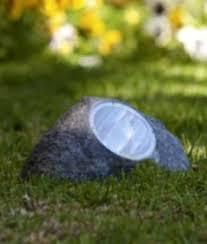 set of 8 large outdoor garden 4 led solar deco rock stone spot lights