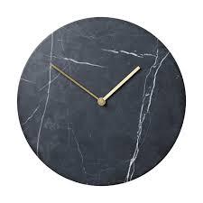 Modern Designer Menu Wall Clock Black MarbleBrass Metal - Modern designer wall clocks