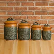 four piece canister set in tan ash glaze stoneware pottery