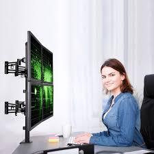 Motion Desk Loctek Store Loctek D2q Full Motion Quad Monitor Arm Desk Mount
