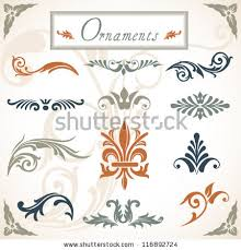 scroll ornaments collection various scroll stock vector