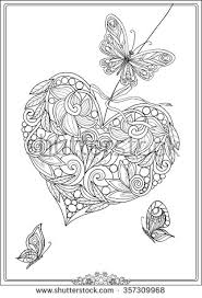 decorative love heart with flowers and butterflies valentines day