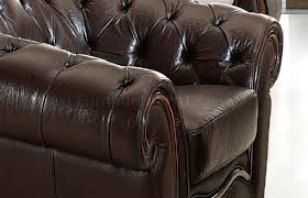 Genuine Leather Living Room Sets Genuine Leather Formal Living Room Sofa W Tufted Seats