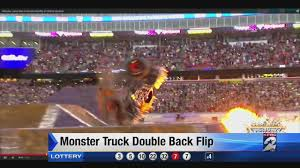 monster truck show at dodger stadium monster truck does double back flip