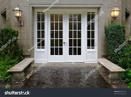 elegant stone walkway bordered by stone stock photo 88162564