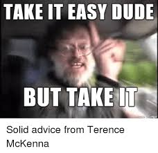 Take It Easy Meme - take it easy dude but take it solid advice from terence mckenna