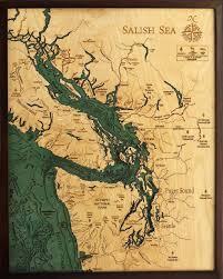 custom wood charts of salish sea from carved lake art nautical