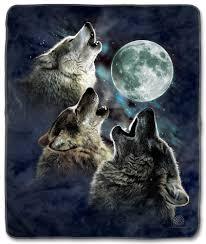the mountain three wolf moon in blue fleece blanket