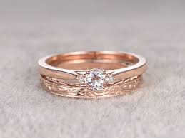 wedding set rings morganite diamond gold wedding set plain gold ring 0 5 carat