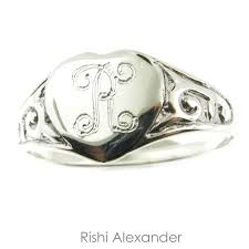personalized ring sterling silver filigree heart baby child signet personalized ring