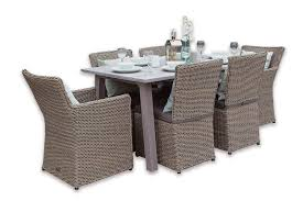 rectangular rattan dining set 6 seater table furniture grey