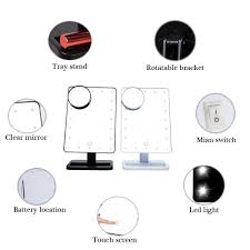 Magnifying Mirror With Light 20 Led Lights Beauty Square Makeup Mirror A 10x Magnifying
