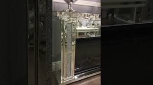 Diamond Fireplace Glass Diamond Glitz Mirrored Electric Fireplace Youtube