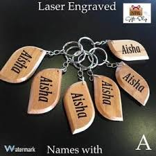 Engrave Gifts Personalised Name Engrave Wooden Keyring Keychain Gifts For Him