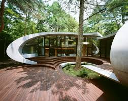 Futuristic Home Design with Natural Environment in Japan Garden