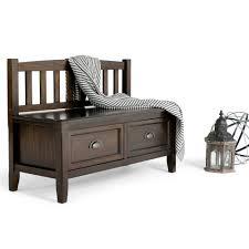 simpli home burlington espresso storage bench 3axcburben the