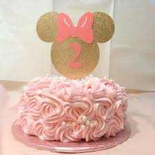 gold and pink minnie mouse cake topper minnie mouse gold glitter smash cake