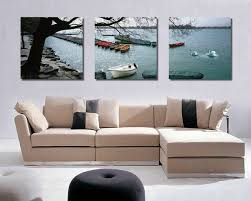 How To Hang Canvas Art Without Frame | boats on lake modern canvas art wall decor landscape canvas prints