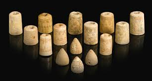 ancient chess set fifteen ivory bone and stone gaming pieces persia or egypt 9th